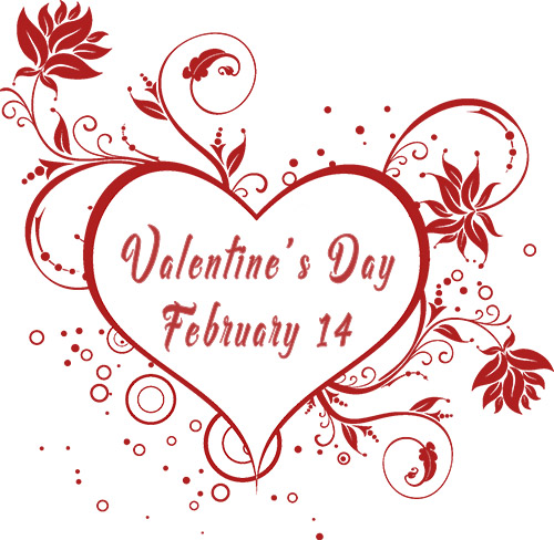 Heart image that says Valentine's Day February 14